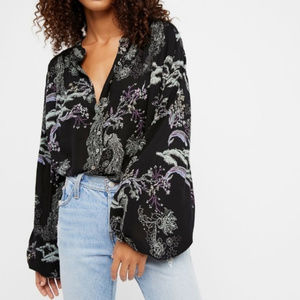 Free People Floral Peacock Metallic Blooms Blouse